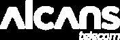 Logotipo branco da empresa Alcans telecom